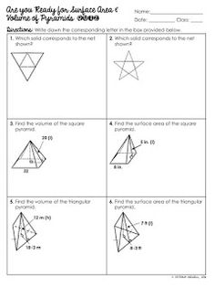 Surface area Of Pyramid Worksheet Lovely Surface area and Volume Of Pyramids Unit 7th Grade Math Worksheets, Geometry Worksheets, 8th Grade Math, Eighth Grade, Teaching Activities, Teaching Math, Educational Activities, Persuasive Writing Prompts, Teaching Geometry