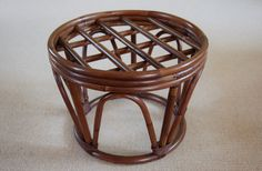 Round Rattan Stool Table, Mid Century Dark Brown Reed Wicker Footstool Ottoman Plant Stand, Bamboo Papasan Stool, Porch Patio Sunroom