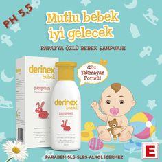 """""""MUTLU BEBEK İYİ GELECEK"""" Derinex Bebek Şampuanı Papatya içeren formülü sayesinde bebeğinizin cildini rahatlatır ve tahrişlere karşı korumaya yardımcı olur. Göz Yakmayan Formülüyle Yeni Doğumdan İtibaren Kullanılabilir. Saçı yumuşatır, hassas saç ve vücut temizliği sağlar. Saç derisine ve cilde uyumlu PH 5,5 sayesinde saçın ve saç derisinin doğal yapısını zararlı dış etkenlere karşı korur. SLS, SLES, paraben, sabun, alkol ve boyar maddeler içermez. Dermatolojik olarak test edilmiştir…"""