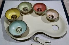 Perfect gift for the Artist in your life  #pottery #bimix #studiopottery #bowls #ceramicbowls #dinnerware #tableware #server #handmadepottery #whimsical #colorful #multicolor #seramik #clay #condiments #artist #palette #artistpalette