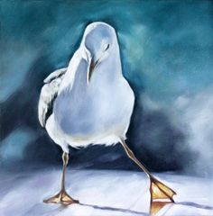Seagull Art Seagull Painting Blue Original Art Oil by cmqstudio