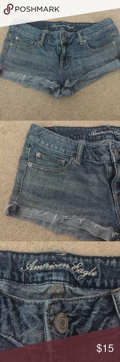 Size 8 juniors American Eagle glitter jean shorts Size 8 juniors American Eagle Outfitters glitter jean shorts excellent condition American Eagle Outfitters Shorts Jean Shorts