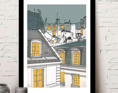 Paris illustration, roofs of paris, roofs of paris, poster, home decor Paris Illustration, Paris Poster, Fine Art, Etsy, Shopping, Decor, Dekoration, Decoration, Visual Arts