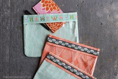 Vinyl and Ribbon Pouches tutorial from Haberdashery Fun