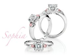 3 stone diamond ring with 2 pink diamonds of course! Best Diamond Rings, 3 Stone Diamond Ring, Pink Diamond Ring, I Love Jewelry, Jewelry Rings, Fine Jewelry, Jewellery, Dream Engagement Rings, Designer Engagement Rings