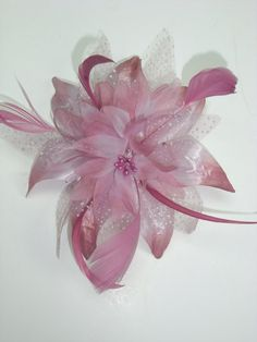 Small Pink Flower Fascinator with Comb