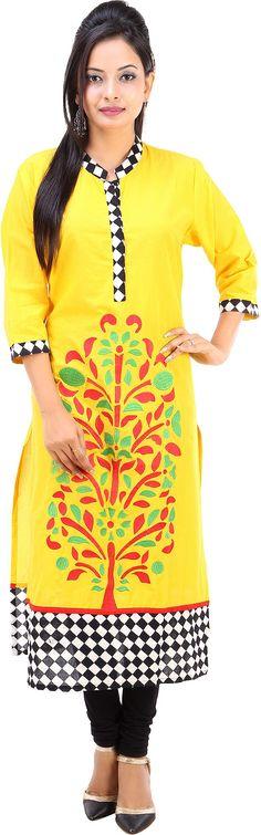 Fuchisa Creation Embroidered Women's Straight Kurta - Buy Yellow, Black,White,Red,Green Fuchisa Creation Embroidered Women's Straight Kurta Online at Best Prices in India | Flipkart.com