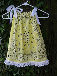 Bandana Pillowcase Dress/ Swing Top Western by BandannaMommas Baby Sewing Projects, Sewing For Kids, Sewing Hacks, Sewing Crafts, Sewing Clothes, Diy Clothes, Pillowcase Dress Pattern, Pillowcase Dresses, Bandana Crafts