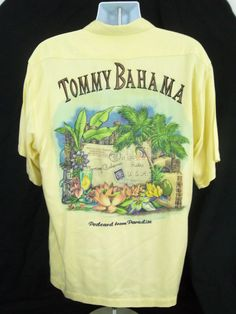 Tommy Bahama Hawaiian Mens Shirt Yellow M Postcard from Paradise Embroidered #TommyBahama #Hawaiian