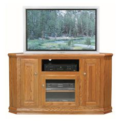 Eagle Furniture Classic Oak Customizable 57 In. Tall Corner Tv Stand