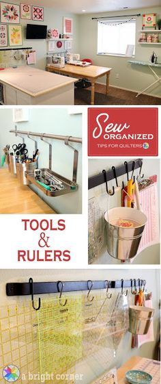 Room organization tips for storing tools and quilting rulers from A Brigh. - Great furniture -Sewing Room organization tips for storing tools and quilting rulers from A Brigh. Sewing Room Design, Sewing Room Decor, Sewing Spaces, My Sewing Room, Sewing Rooms, Sewing Studio, Sewing Closet, Storage Room Organization, Sewing Room Storage