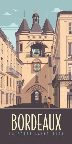 KAKÉMONODÉCO - Illustration vintage de la porte Saint-Éloi à Bordeaux - Décor mural en vente sur www.kakemonodeco.com