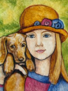 {Needle Felt Art - Girl and her Dachshund puppy} so sweet!
