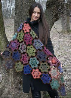 Шали, палантины ручной работы. Ярмарка Мастеров - ручная работа. Купить Шаль Вдохновение связанная крючком100% шерсть. Handmade. Подарок Crochet Fall, Knit Or Crochet, Just Do It, Shawl, Blanket, Knitting, Pattern, Color, Design