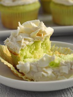 Pistachio cupcakes with pistachio pudding and cake mix.