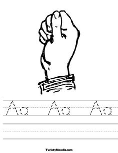 Sign Language Letter A Worksheet from TwistyNoodle.com