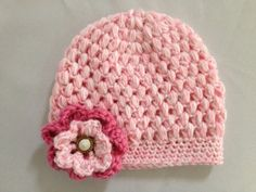 Crochet Beanie  Pink and White Puff with by NydiaFierroDesigns, $20.00