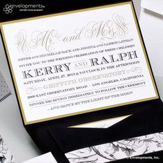 Bold with calligraphy detailing and textured papers - Kerry & Ralph Pocketfold invitation by Envelopments. Completely customizable and available at Your Occasion   youroccasion.ca