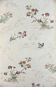 England, Spitalfields    Panel (from a Dress), c. 1748/49    Silk, plain weave with supplementary brocading wefts and self-patterned by complementary ground weft floa- Art Institute of Chicago