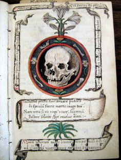 Inevitability of Death  Surrounded by poetry about virtue and the inevitability of death, topped with a line from Ecclesiasticus 7:40 from the Latin Vulgate