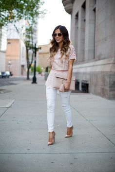 fashion blogger mia mia mine in a pink lace top from shopbop and topshop white jeans