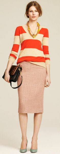 spring-like bright colors makes an unexpected, refreshing twist for fall   {J- Crew}.