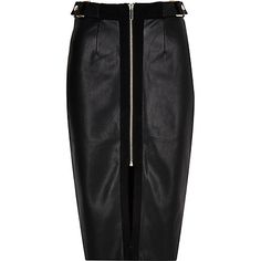 Black panel zip pencil skirt £15.00 river island mesh top black high boots or shoe boot black tights
