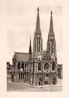 1902 Photogravure Votive Church Vienna Austria Cathedral Neo Gothic XGKA9
