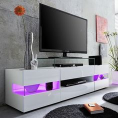 Kirsten TV stand in white with gloss fronts and led - 27541 wooden TV stands, TV units, cabinets & wall entertainment units, modern & contemporary. Living Room Furniture Sale, Contemporary Living Room Furniture, Led Furniture, Furniture Online, Cheap Furniture, Glass Bar Table, Lcd Tv Stand, Tv Regal, Bedroom Tv Stand