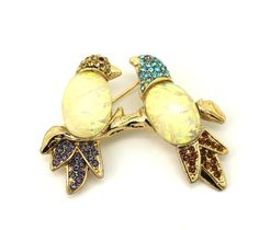 Love Birds Brooch Multi Color Stones Gold-Tone Opal Pin  #DepartmentStore