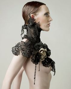 black laced collar