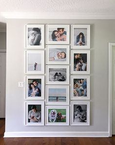 I like the clean rectangle shape of all pic's combined. Will use and pic's only, both vertical and horizontal. Like the uniform look of the frames being same size, so maybe the pic openings can just have more of a frame? Family Wall Decor, Photo Wall Decor, Living Room Decor, Photo Displays, Frames On Wall, Picture Wall, Picture Frames, Home Decor Inspiration, Decor Ideas