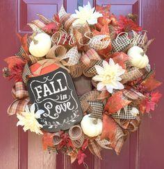 Fall Wreath - Fall Burlap Wreath - Fall Deco Mesh Wreath - Autumn Wreath - Fall Floral Wreath - Fall in Love Wreath - Burlap Deco Mesh by MsSassyCrafts on Etsy https://www.etsy.com/listing/245535640/fall-wreath-fall-burlap-wreath-fall-deco