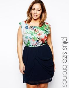 AX Paris Plus Size Floral Two in One Dress - blue