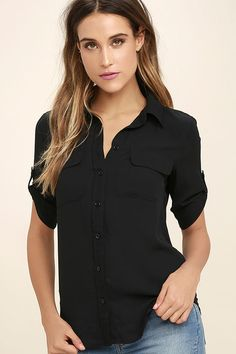 You and the cute Best of Friends Black Button-Up Top will be stylish companions for life! This classic collared top has a full button placket running the length of its breezy, woven poly bodice. Short sleeves can be worn down and relaxed, or buttoned thanks to button tabs.