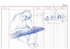 "Apunte: Ross dibuixant   Apunte  ""Ross dibuixant""  Ross dibujando  Bolígrafo sobre papel  149 x 21 cm  2004  Crinan  apunte: gente libro 2004-02 / 2005-01"