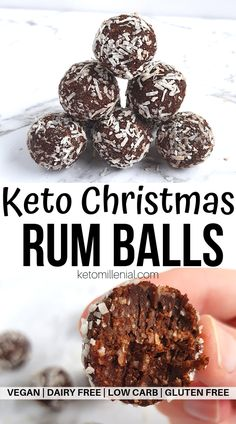 Crazy-good Keto Christmas rum balls that make the perfect keto friendly Christmas treats. There's just 80 calories in one rum ball and just 0.7 g net carbs! These boozy healthy rum balls is a must have for any low carb Christmas table! #ketotreat #ketodessert #lowcarbchristmas