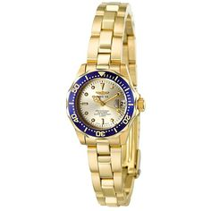 Invicta Women's Pro Diver Casual Watch (¥8,705) ❤ liked on Polyvore featuring jewelry, watches, dial watches, crown jewelry, 18k watches, water resistant watches and stainless steel wrist watch