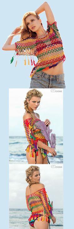 Arrastão multicolorido. Peça da estilista Anna Kosturova.