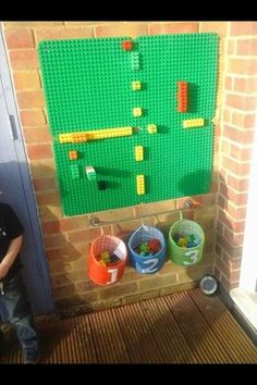 Our duplo wall we use it to count on, create patterns and just build. A great r… – natural playground ideas Outdoor Learning Spaces, Outdoor Play Areas, Eyfs Outdoor Area Ideas, Outdoor Rooms, Outdoor Walls, Room Ideias, Decoration Creche, Casa Lego, Nursery Activities