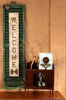 shutter welcome sign, crafts, Shutter Welcome Sign from reclaimed items Petticoat Junktion