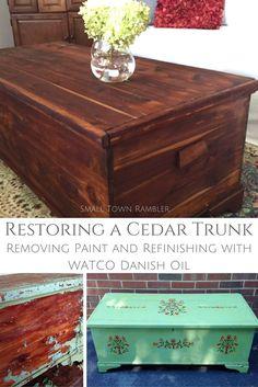 Restoring an old cedar trunk using WATCO Danish Oil