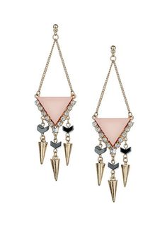 Triangle Earrings - Now £8 AN IDEA~ WHERE THE LAVENDER COLOR IS IN THE PIC, WRAP COLORED WIRE ACROSS, BACK AND FORTH, FROM ONE SIDE TO THE OTHER, UP TO THE MIDDLE BEND IN THE WIRE. COOL, HUH?