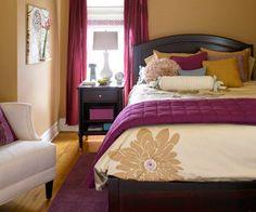 Plumb & sand colored bedroom