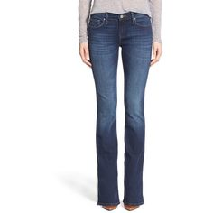 Mavi Jeans 'Ashley' Stretch Bootcut Jeans ($98) ❤ liked on Polyvore featuring jeans, dark tribeca, petite, dark jeans, zipper jeans, mavi jeans, faded blue jeans en blue jeans