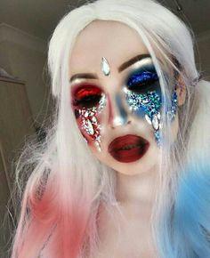 Halloween, makeup, and harley quinn image