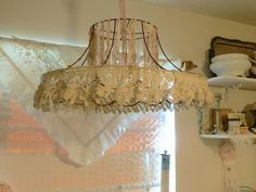 A victorian lamp shade standard lampshade soft lamp shade crocheted fabric and lace covering lampshade frame greentooth Image collections