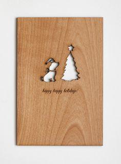 Dog Holidays Card, Real Wood