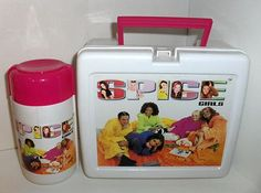 ``The Spice Girls`` PLASTIC LUNCHBOX & FLUID BOTTLE,THIS LUNCHBOX HAS SOME SCRATCHES FROM USE,THIS FLUID BOTTLE ALSO HAS SOME SCRATCHES FROM USE,THE LATCH AND HANDEL WORK FINE ON THE LUNCHBOX,THIS BOTTLE COMES COMPLETE WITH IT's TOP & CUP,