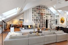 built in bookcases vaulted ceiling - Google Search